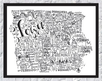 Iowa State Print- Hand Lettered Print- State of Iowa Print- Iowa Print- Hand Lettered Iowa Print-8x10 Iowa State Print