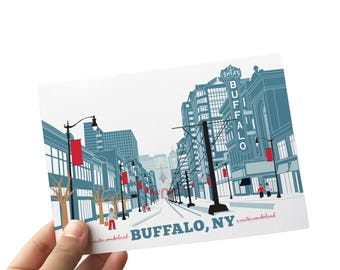 A Buffalo Christmas with Buffalo Cards for the Holidays, A Winter Wonderland, Buffalo Art Print, 5 x 7 Buffalo NY Art