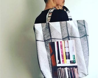 "Reversible Recycled Canvas Tote Bag ""Street"""