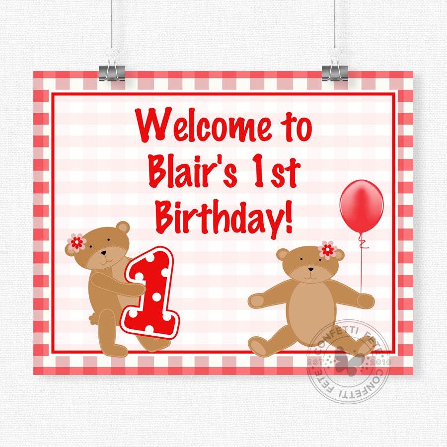 Teddy Bear Picnic Birthday Sign Teddy Bear Welcome Sign Bear