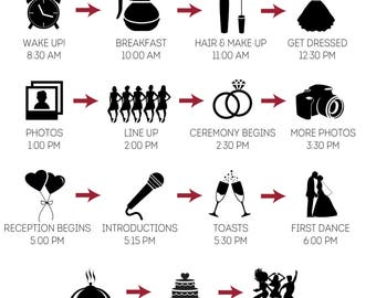 Wedding Party Timeline with Icons - Customized and Printable