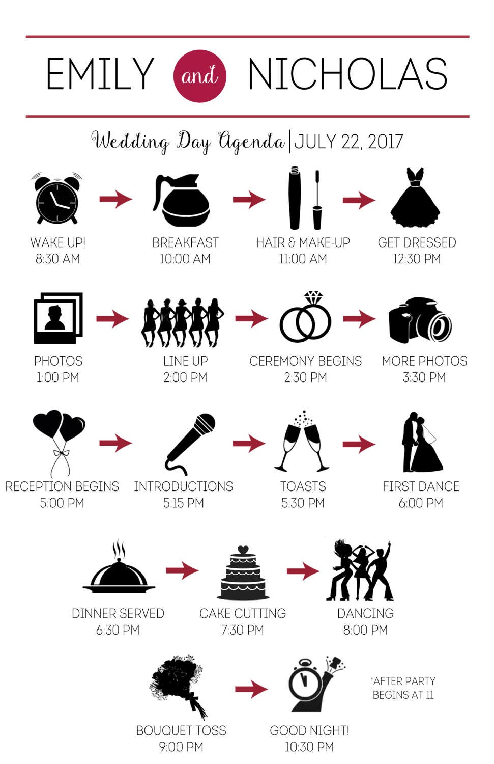 Wedding Party Timeline with Icons Customized and Printable