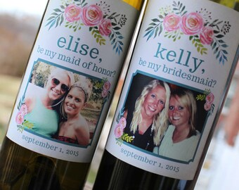 Custom Flower Wedding Party Proposal Wine Labels // Will you be my Bridesmaid // Maid of Honor // Watercolor Flower // Thank you Gift