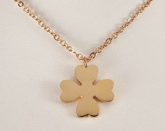 Personalized Four Leaf Clover Necklace Rose Gold Over Stainless Steel Custom Engraved  - Hand Engraved