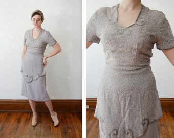 1940s Pearl Grey Beaded Dress - S/M