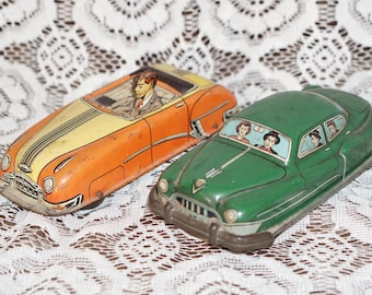 Pair Vintage Tin Litho Automobiles One is Friction Lupor Hadson