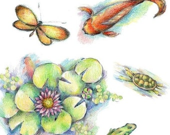 Crayon-Created Pond Life - - Elements of Collage - Digital PDF