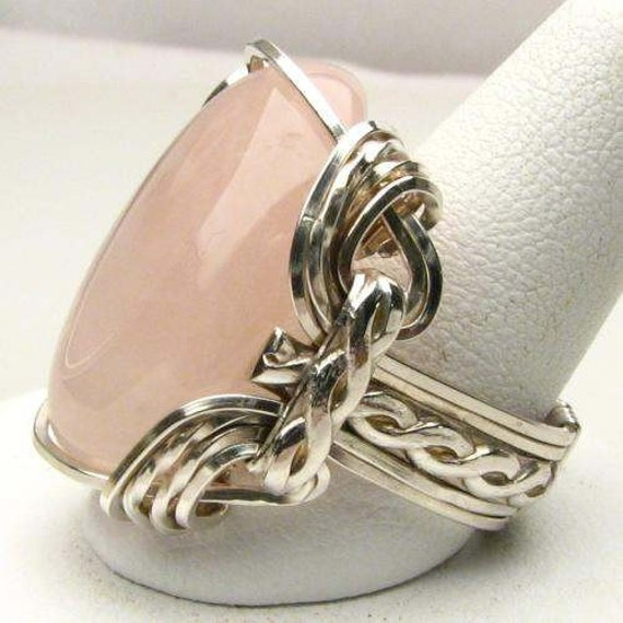 Wonderful Hand Made Wire Wrap Rose Quartz Silver Ring