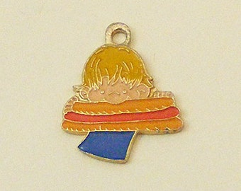 Aviva Vintage Kidlinks by Marty Links Enamel Charm Child with Hot Dog 56-1