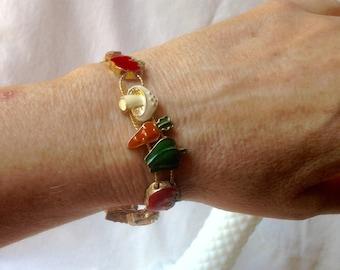 Vintage Vegetable Bracelet Enameled Veggie Slide Bracelet