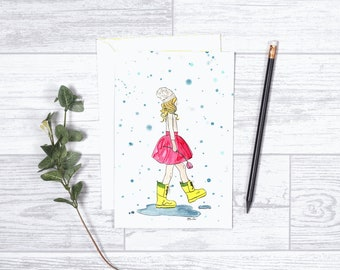 "Puddles - Note Cards - 4""x6"" - Greeting Card - Rainy Days - Yellow Rain Boots - Gifts for Her - Gifts for Kids - Toddlers - Tweens -Rain Art"