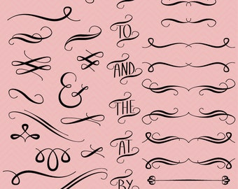 Hand Drawn Flourishes Clipart Clip Art Vectors, Digital Flourishes Swirls for Invitations - Commercial and Personal Use