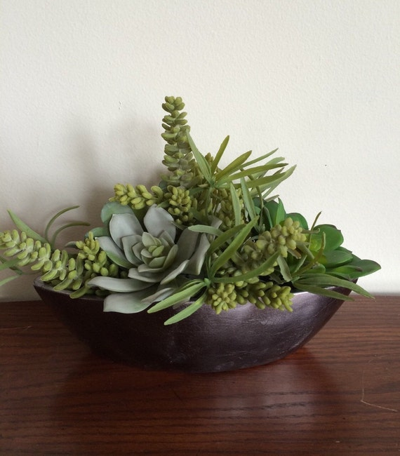 Items Similar To Faux Succulent Centerpiece In Ceramic