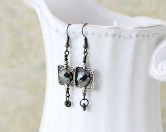 Goth Dark World Earrings - Spinning black faceted Czech glass beads within an antique silver frame - Black Goth Earrings - Goth jewelry