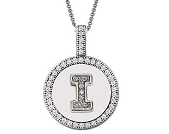 Initial Letter I Micro Pave CZ Pendant .925 Sterling Silver