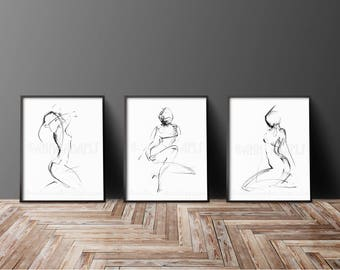32-09-35L, female figure drawing minimalist sketch abstract nude black and white art prints from original art by Ann Adams Set of 3 CC