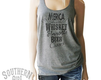 Merica Southern Girl Whiskey Tank. Merica Tank. Merica Shirt. Whiskey Tank. Southern Tank. Country Clothing. Country Shirts. Whiskey Shirts.