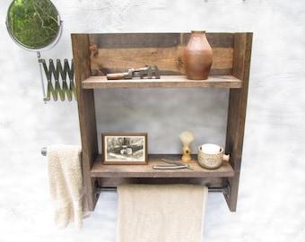 Industrial shelf, shaving station, bathroom decor, bathroom shelves, grooming station
