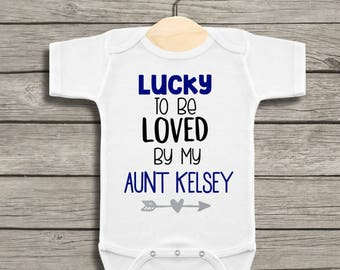 Gift from aunt etsy personalized lucky to be loved by my aunt baby bodysuit bodysuit for aunt gift negle Images