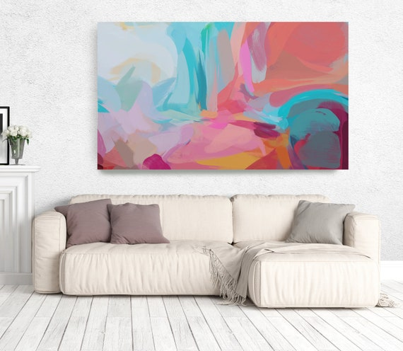 """The Color Movement 12, Abstract Painting Modern Wall Art Painting Canvas Art Print Art Modern Pink Red Blue up to 80"""" by Irena Orlov"""