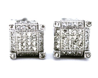 Cute 14k White Gold on Sterling Square Earrings