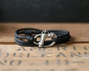 The Adventure Bracelet (Black Paracord - Silver Shackle) - paracord bracelet for men - parachute cord bracelet - skydive shackle