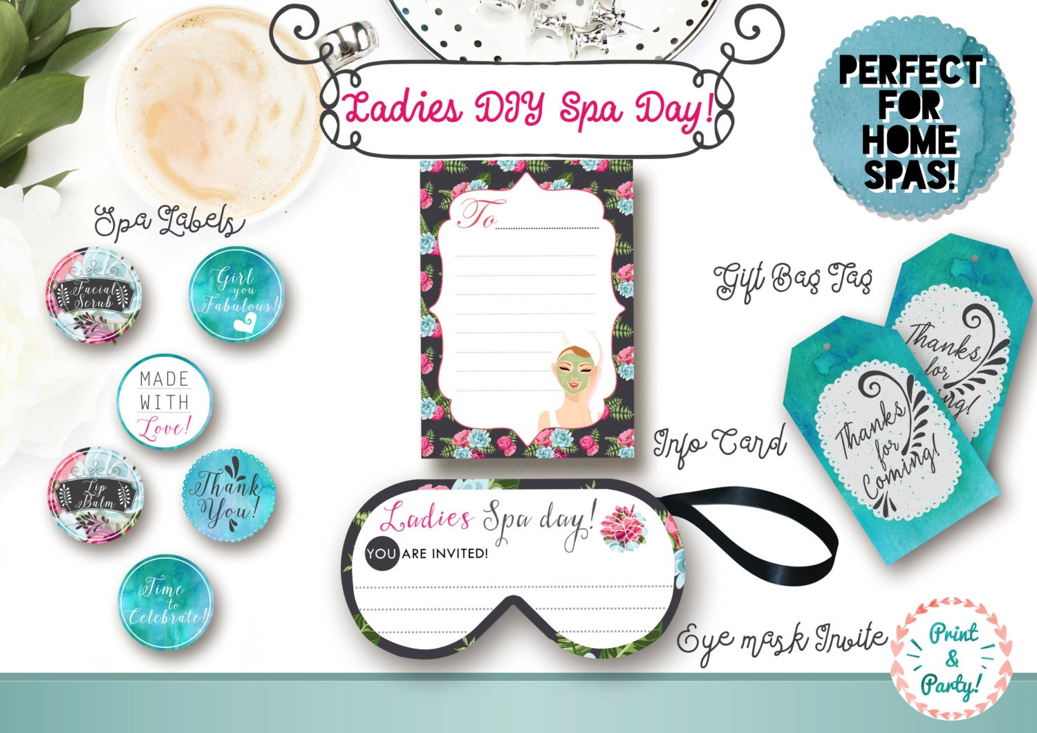 DIY Ladies Spa Day Printable Suite Home Spa themed party