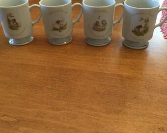 Vintage Mouse Pedestal Mugs Set of 4 Friendship Tiny Talk