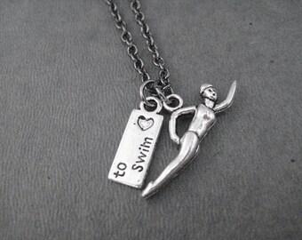 GIRLS LOVE to SWIM Necklace - Pewter Swimmer Girl Charm and Pewter Love (heart) to Swim Charm Necklace on Gunmetal chain - Swim Team Girl