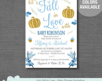 Fall In Love Blue Baby Shower Invitation, Baby Shower Invite, Gold Glitter, Silver Glitter, Boy, Pumpkins, 5F