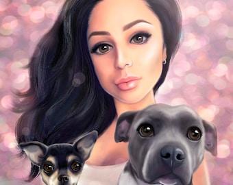 pet portrait, dog portrait, cartoon digital  portrait, commission pet portrait, custom dog portrait, personalized gift, family portrait