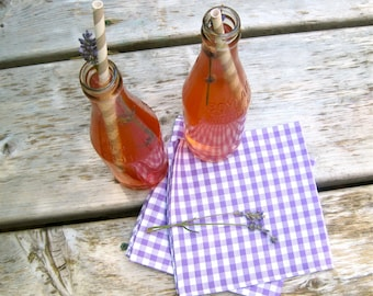 Violet Gingham Napkins SET of 4 - Picnic Food Napkins - Eco friendly Spring Party Decor, SewnNatural