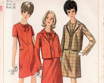 "1960s Dress Suit Pattern Dress And Jacket SIMPLICITY 6747 bust 36"" Straight Dress Box Jacket Pattern 1960s Dress Pattern Shift Dress Pattern"