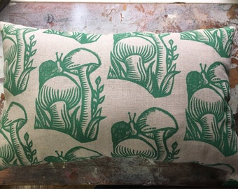 Folksy Hitchiker- Hand Block Printed - Linen and Canvas Throw Pillow - Cover - Mushroom, Snail, Floral, Botanical Linocut Prints
