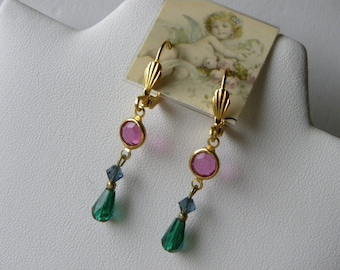Fuchsia and Emerald Swarovski Crystal Earrings Small Pink and Green Dangle Earrings