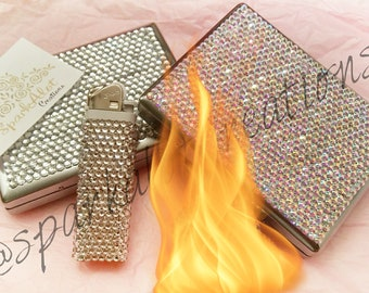Sparkly Bling SEXY cigarette case + lighter luxurious
