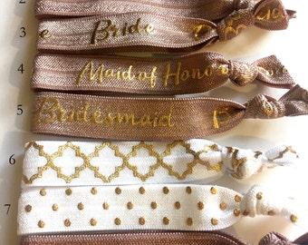 Choose Your Own-Gingersnap & White Bridal/Bridal Party Hair Tie Set-Pick 6 hair ties, Wedding, Engagement, Bridesmaid Gift, Team Bride