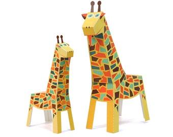 Maxi Giraffe Paper Toys - DIY Paper Craft Kit - 3D Paper Animals - Kids Giraffe - 3D Model Paper Figure