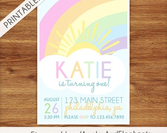 Pastel Rainbow Birthday Invitation - Rainbow Birthday Invite - Rainbow Birthday Party Invite - Printable