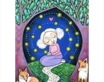 Girl and fox wall art print A3 firefly art fireflies girls room fox art nursery art whimsical folk painting forest woodland animals foxes