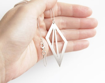 Triangle Pendant Necklace, Sterling Silver Geometric Triangle Cut Out Necklace, Geometric Pendant Necklace, Sterling Ball Chain
