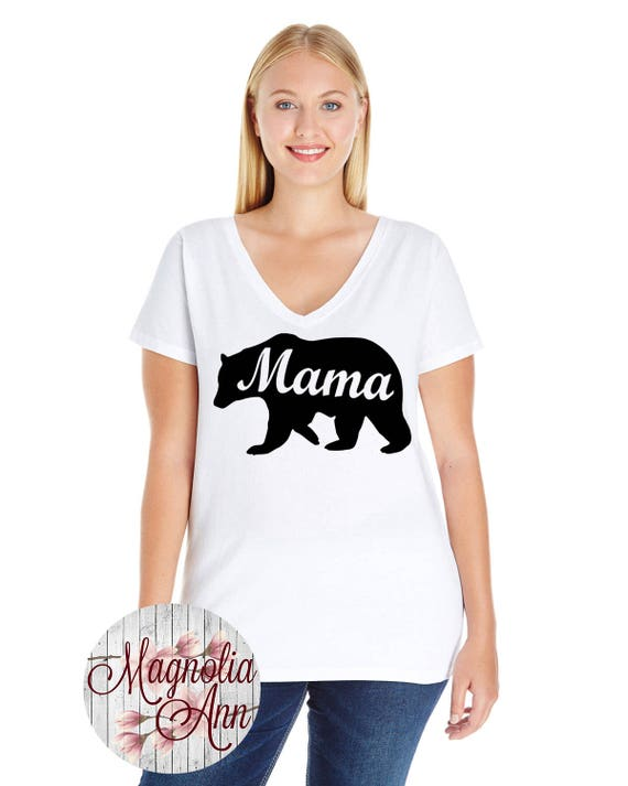 Mama Bear, Mom, Women's Premium Jersey V-Neck T-shirt in Sizes Small-4X, Curvy, Plus Size, In Lots of Different Colors