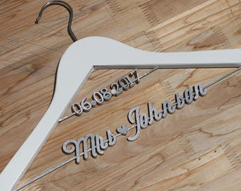 Gift for Bride, Personalized Wedding hanger, Bridal Hanger, Two Line Hanger, Personalized Wedding Hanger with date,  Bridal Gift vet0009