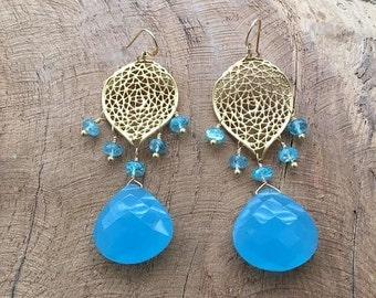 Blue Chalcedony Earrings | Apatite | 24K Gold Vermeil | Chandelier Earrings | Bohemian | Gemstone