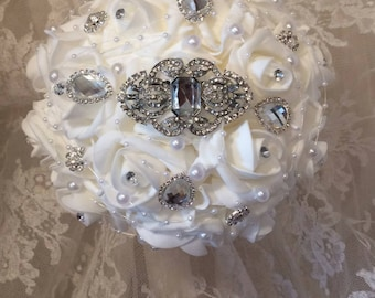 Bridesmaid Brooch Bouquet, Maid of Honor Brooch Bouquet, Choose your handle color, Full Price 40.00 and 65.00 each, Rush Orders Welcome!