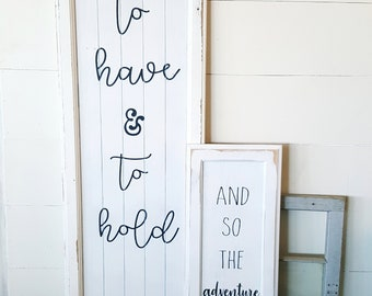 And so the adventure begins- 11x28, wood sign, wedding decor, rustic wedding decor, wedding signs, rustic wedding signs, farmhouse wedding