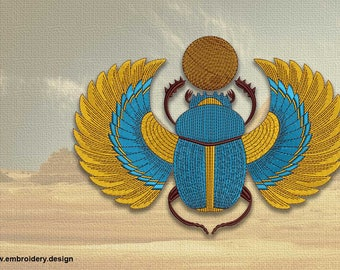 Bright egyptian scarab embroidery design  - downloadable - 3 sizes