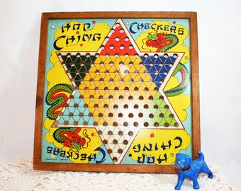 SALE - Vintage Chinese Checker Board Framed, Wall Hanging