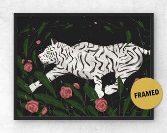 White Tiger Art, Framed Art, White Tiger, Tiger Art, Tiger Print, Wall Art, Charlie Harper, Charlie Harper Style Art, Gifts for Cat Lovers