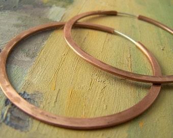 2 inch Brushed Copper Hoop Earrings